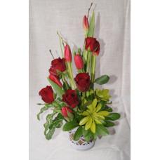 Rose & Tulip Flower Arrangement