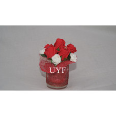 6 Mini red roses & 5 miniature white roses, set in glass vase